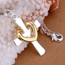 2015 hot sell Lover's Silver Plated Chain Charm Heart Cross Pendant Necklace for Birthday Gift 56EN