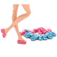 10 Pair/lot Heels Slippers For Barbie Doll Shoes Accessories Lovely Baby Girls Children DIY Gifts Colorful Dolls Shoe Supply