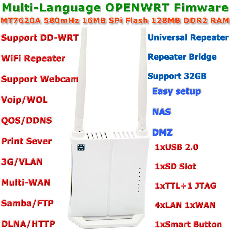 Mini OPENWRT Firmware 300Mbps WiFi Router Wi-Fi Wireless Router WiFi Repeater Roteador with USB Port/3G/Print Server/VLAN/VOIP(China)