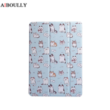 AIBOULLY Lovely Cute Cat Painted Cover for iPad Mini 1 2 3 Stand Case for iPad Air 1 2 Shockproof Cat Lovers Sleep Wake UP Funda