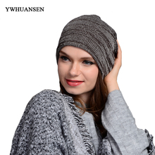 YWHUANSEN Popular Autumn Winter Unisex Beanies Hats Striped Knitting Headdresses For Men Warm Female Crochet Ladyies' Skullies(China)