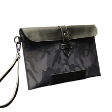 QIGER England Style Vintage Business Hand Bag Men Clutch Bags Waterproof Oxford Camouflage Men's Clutch Purse Casual Wallet