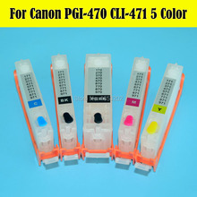 Middle East!! 5 Color Refill Ink Cartridge PGI-470 CLI-471 For Canon PIXMA MG6840 MG5740 Printer With ARC Chip(China)