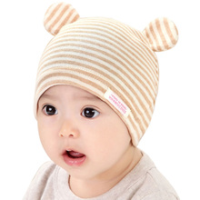 Baby Beanie Hat Infant Cap for 3 to 12 Months Boys Girls Toddler Kids Children Natural Organic Cotton Newborn Hats Stripes Style(China)