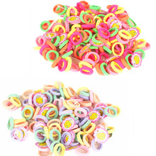 Free Shipping Hair Ties 50 Pcs/lot Candy Color 2.5cm diameter Seamless Elastic Ropes Girls' Hair Bands Kids Hair Accessories