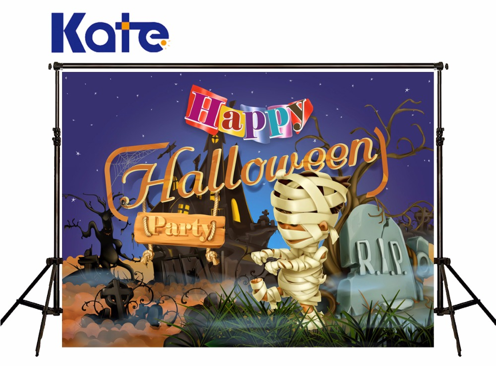 KATE Photography Backdrops 10X10FT Halloween Halloween Horror Party Background Forest Chalet And Zombie Mummy Backdrops<br>