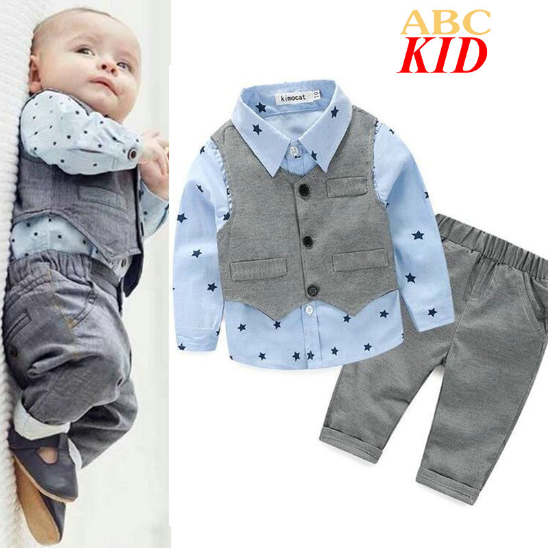 Spring Stars Blouse + Vest+ Pants Baby Boy Clothes Gentleman Party Wedding Blouses Long Sleeve Kids Boy Clothing Set KD327<br><br>Aliexpress
