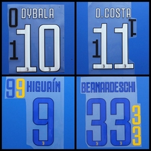D.COSTA DYBALA HIGUAIN MARCHISIO CHIELLINI DYBALA BUFFON BERNARDESCHI football number font print, Hot stamping patches badges(China)