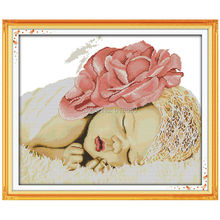 Sleeping Angel Baby Patterns Counted Cross Stitch 11CT 14CT Cross Stitch Sets Chinese Cross-stitch Kits Embroidery Needlework(China)