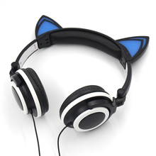 Foldable Flashing Glowing Cat Headphones Cute Gaming Headset Earphone Headset with LED light or PC Laptop Computer Mobile Phone(China)
