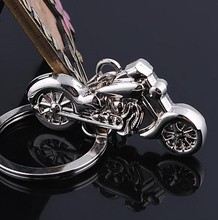 Fashion Personality 3D Mini Motorcycle Motorbike Cool Silver Metal Charm Car Key Ring Keychain Creative Party Gift