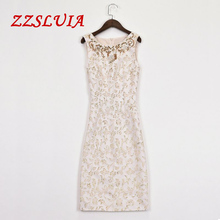 S-XXL Brief beading sequined designer O neck sleeveless elegant slim vest jacquard dresses 2017 new nice women's dresses 635180