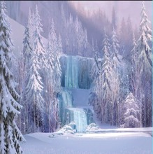 8x8FT Custom Backgrounds Iced Waterfall Falls Icefalls Light Pink Ice Forest Trees Photo Studio Backdrop Vinyl 240cm x 240cm(China)