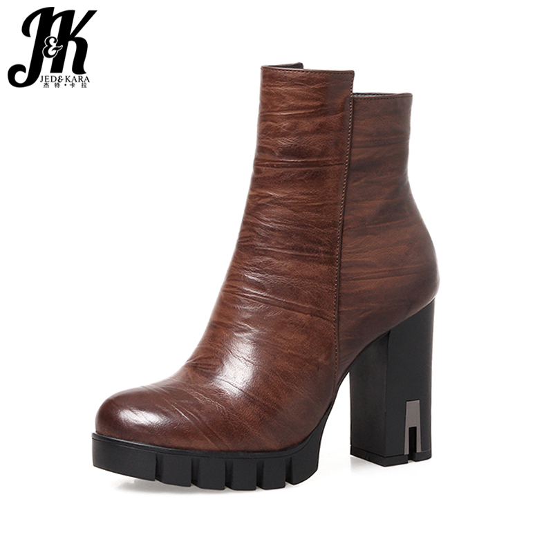 J&amp;K 2017 New Arrive Ladies Thick High Heels Ankle Boots Women Side Zipper Elegant Women Shoes Platform Autumn Boot Female Winter<br>