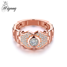 Rose Gold Color Rings with Watch Chain for women Trendy jewellery Dropshipping anel anillos aneis bagues femme Statement Rings