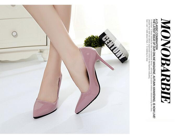 2018 Femmes Chaussures Bout Pointu Pompes En Cuir Verni Chaussures Habillées Talons hauts 14