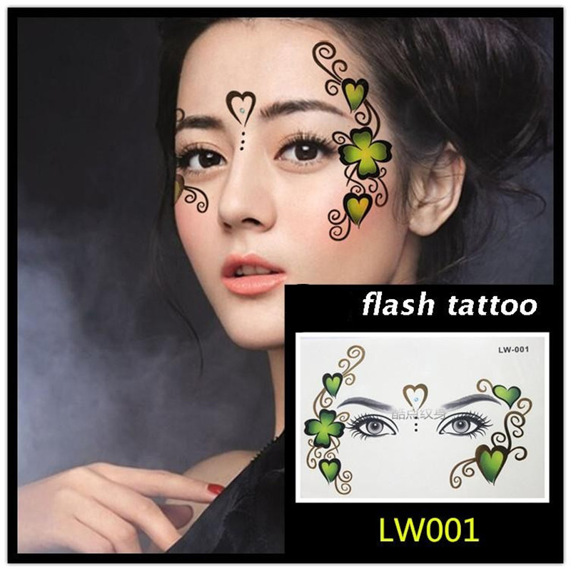 Hot sale Masquerade flash tattoo paste face temporary face stickers jewelry Arab India's large temporary tattoos makeup tattoo 3