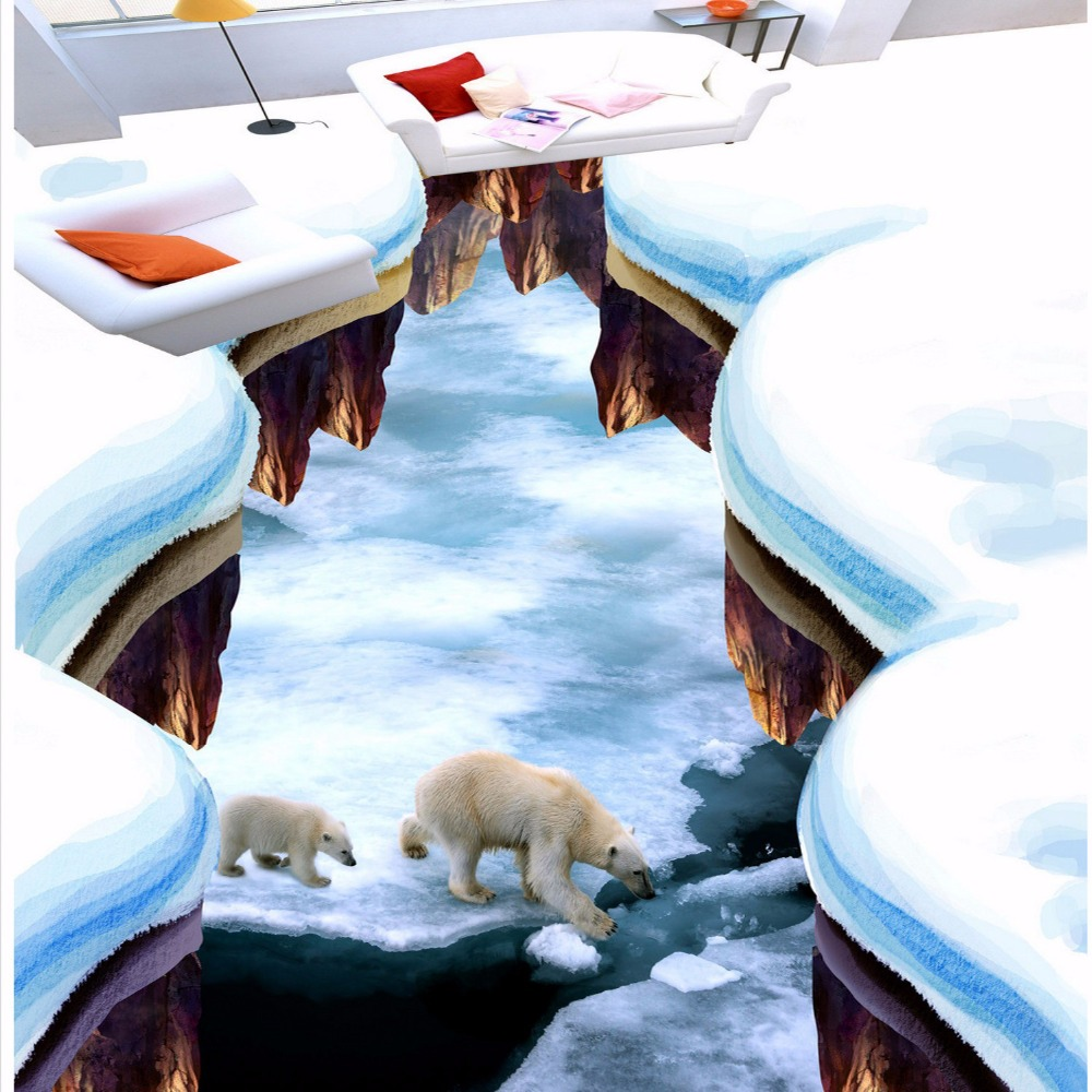 Free Shipping stereo fashionable Ice world painting floor wallpaper courtyard outdoor theme restaurant flooring mural painting<br>