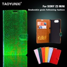 Wallet Style Fashion Luxury Snake Leather Cases For Sony Xperia Z3 Compact Z3 Mini Z3C D5803 M55W D5833 Covers Flip Phone Bags