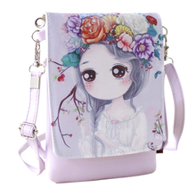 2017 New Cartoon Print Women Messenger Bags PU Leather Female Shoulder Bags Purse and Handbags Girls Children Mini Crossbody Bag(China)
