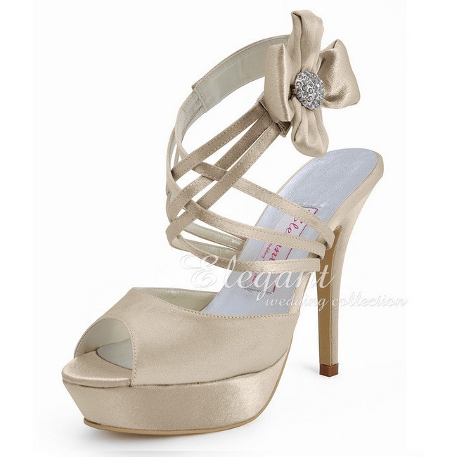 summer Women Sandals High Heel Champagne Size 6 EP2031-PF Peep Toe Platform Flower Rhinestone Satin Wedding Prom Shoes Woman<br><br>Aliexpress