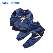 Buy AiLe Rabbit Summer 2016 New Baby Boy Pattern Rabbit Toddler Plaid Kids Clothes Children Clothing Set for $8.36 in AliExpress store