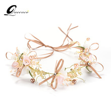 Sweet Long Hair Flower Wedding Hair Ornaments Gold Pink Series Bride Headdress Handmade Bridal Party Wedding Hair Decoration(China)