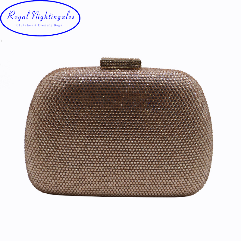 RN Wholesale Womens Crystal Box Hard Case Evening Clutch Bag and Evening Bags for Party Prom Evening Black/Purple/Champagne<br>