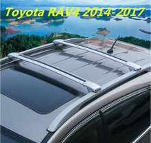 Car Aluminum Roof Rack Rail baggage luggage Cross Bar For Toyota RAV4 2014 2015 2016 2017 (With Lock) (Silver black)