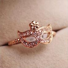 2017 New Hot !!! Fashion Fine Jewelry Wholesale Gold Color Full Rhinestone Bohemian Style Mask Wedding Ring For Women gift R-80