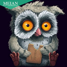 Meian,Full,Diamond Embroidery,Animal,Owl,5D,Diamond Painting,Cross Stitch,3D,Diamond Mosaic,Needlework,Crafts,Christmas,Gift(China)