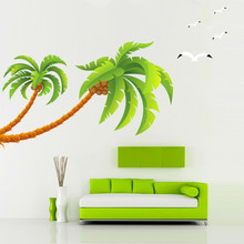 Factory direct sales home accessories can be removed wall stickers coconut tree three generations of flat decorative stickers