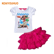 Faster shipping! MOANA Baby Girl Clothes Summer Casual Sets Children's Cotton T-shirt+Dress 2 PCS Suits Birthday Kids Clothing(China)