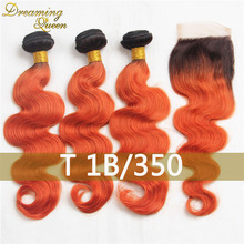 T1B 350 Orange 8A Mink Ombre Brizilian Hair Weave Bundles With Closure 3 Pcs of Orange Weaves With Lace Closure Orange Hair Weft