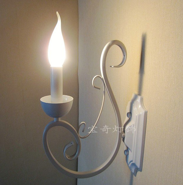 Vintage wall light 1 Pieces E14 Mediterranean white simple wrought iron candle lamp E14 base lighting fixture<br><br>Aliexpress