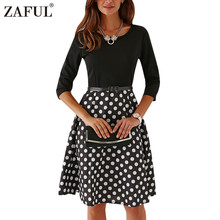 ZAFUL 2017 New Vintage Belted 3/4 Sleeve Polka Dot Jewel Neck Dress Women Retro Rockabilly Robe feminino Vestidos Party dresses