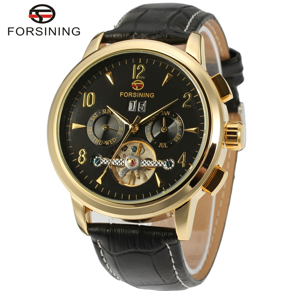 FORSINING Brand Men Luxury Genuine Leather Strap Tourbillion  Automatic Self Wind Mechanical Watch Wristwatch Relogio Releges<br>
