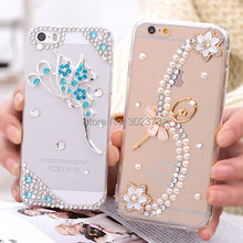 Fashion Luxury Crystal Rhinestone Diamond Bling Case Cover For Apple iphone 4 4S 5 5S 6 Plastic Back Cover Cell Phone Cases Skin