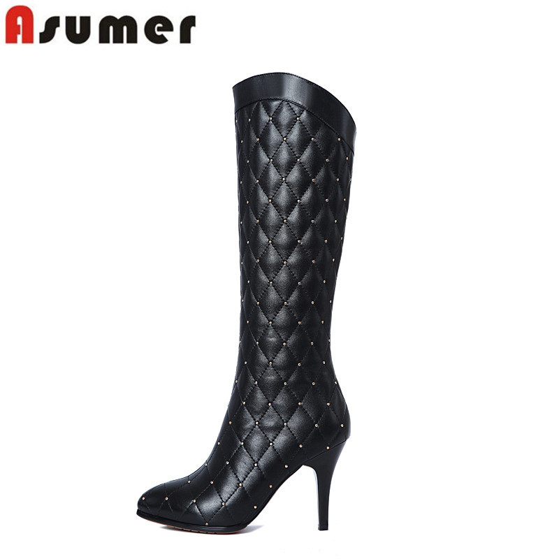 High quality new arrive hot sale genuine leather knee high boots sexy thin high heel pointed toe women autumn boots<br><br>Aliexpress
