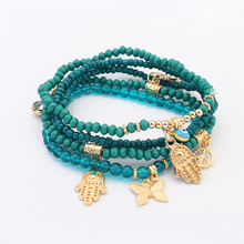 Lucky Set Jewelry Accessories Blue Evil Eye Hand Butterfly Ship Anchor Multilayer Beads Turkish Charms Bracelets for Women 2017