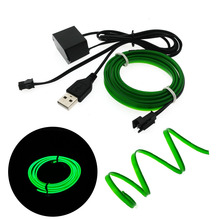 6mm Sewing Edge Neon TV Lights Dance Party Car Decor Light Neon Flexible EL Wire Rope Tube LED Strip With 5V USB Plug