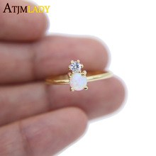 high quality prong setting two stone clear cz White fire opal size 6 7 8 fashion thin band gold filled delicate girl women ring(China)