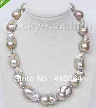 "$wholesale_jewelry_wig$ free shipping luster 18"" 29mm peacock purple Reborn keshi pearls necklace"