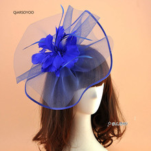 2017 Vintage Vogue Wedding Fascinator Hat Royal Blue Women Mesh Gauze Feather Fascinator Hair Clip Ladies Party Hair Accessories