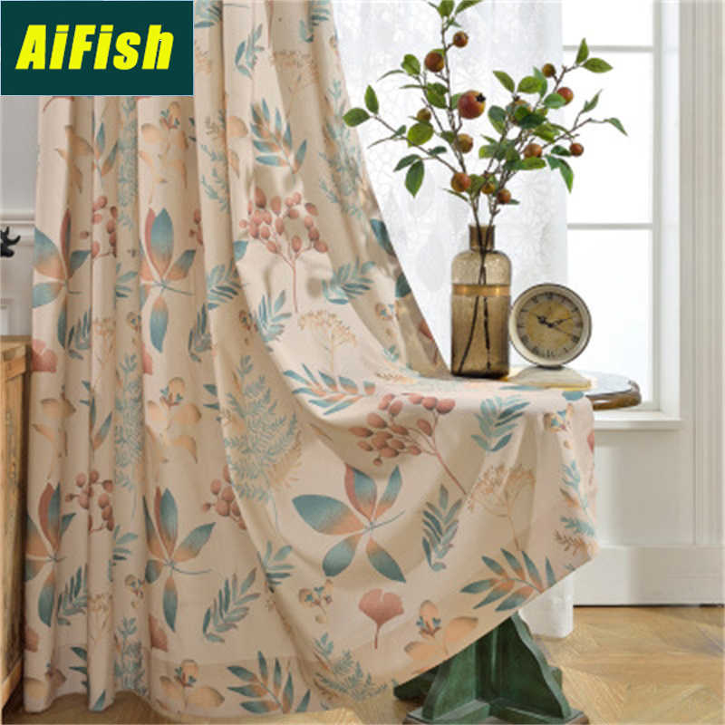 Modern Pastoral Leaf Floral Printed Blackout Curtains For Living Room Bedroom White Tulle Curtain Drapery Fabric Balcony NP03&3