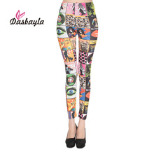 Dasbayla Fashion Print Leggings 2017 Women High elasticity Ankle Skinny Pencil Tenths Pants Sexy Slim Ladies leggings Leopard(China)