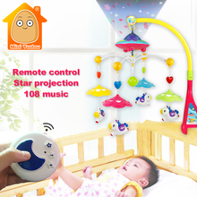 Minitudou Baby Crib Toy 0-12 Months For Newborn Mobile Musical Bed Bell With Animal Rattles Early Learning Kids Toys