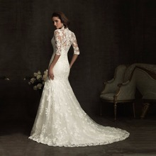 ZGS347 Vestido de Festa Longo Bridal Mermaid Wedding Dresses Gowns Long Sleeves Lace Wedding Dresses Mermaid 2017