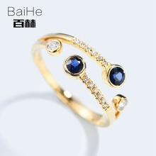 BAIHE Solid 14K Yellow Gold 0.2ct Certified Flawless 100% Genuine Natural Sapphire Engagement Women Classic Fine Jewelry Ring(China)