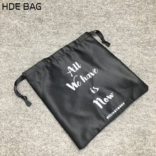 Custom Black Drawstring Satin Extension Hair Bags Clothing Shoes Accessories Storage Bags Can be Custom logo